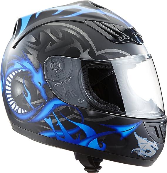 Protectwear H510 11bl S Motorradhelm Integralhelm Mit Drachendesign Größe S Schwarz Silber Blau Auto