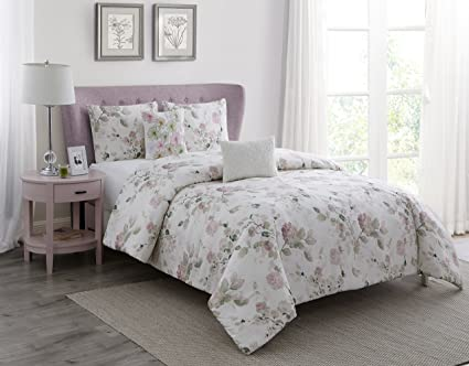 1247d2bfdf10b WonderHome 2018 Trending Floral Pink Comforter Set, 5-pc. Spring Garden  Cotton Comforter Overfilled with Plush Polyester, Oversized, Medium Weight,  ...