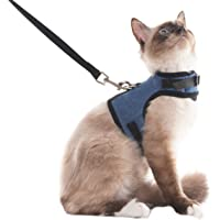 SCENEREAL Escape Proof Cat Harness and Leash - Adjustable Soft Mesh Vest Harness for Rabbits Puppy Kittens, S
