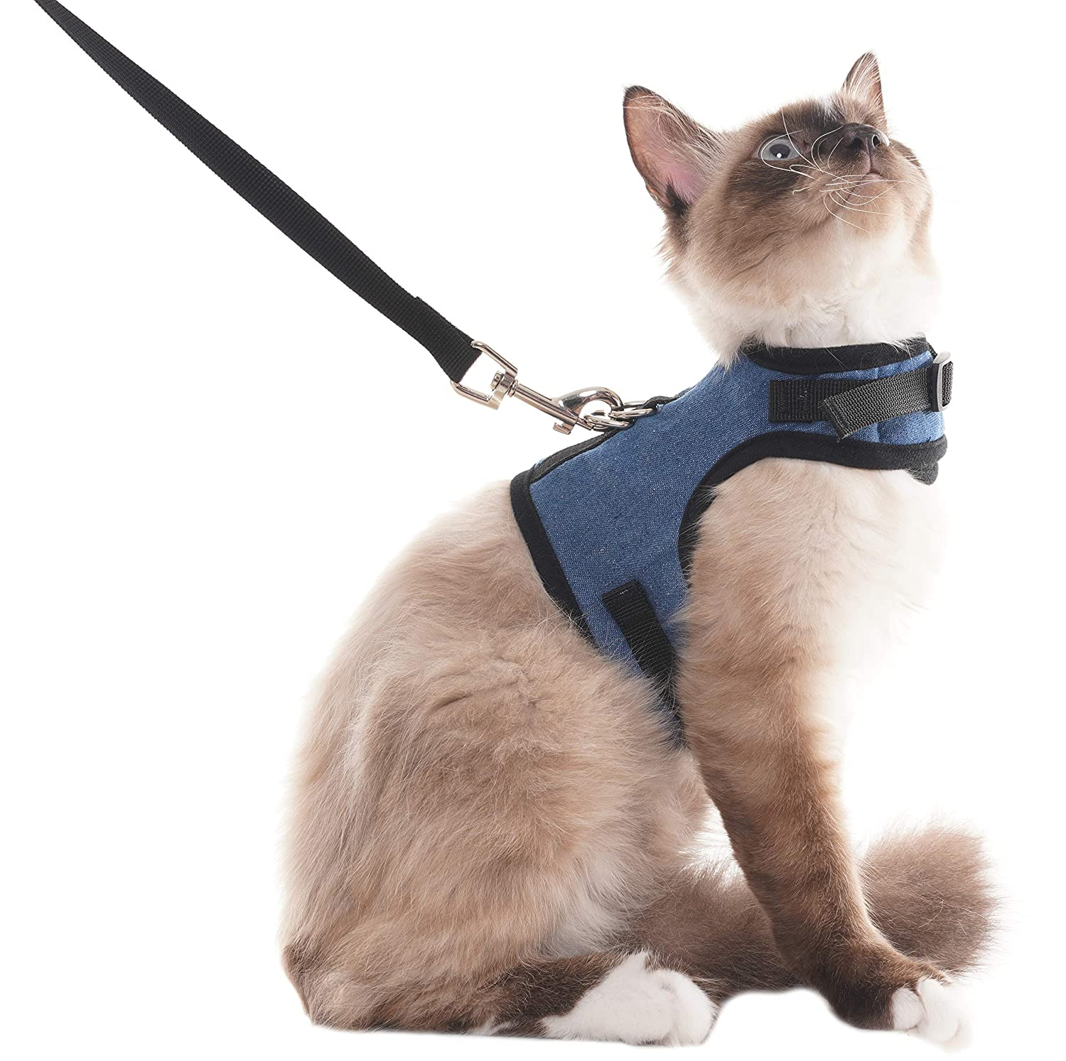 L SCENEREAL Escape Proof Cat Harness and Leash Adjustable Soft Mesh Vest Harness for Rabbits Puppy Kittens, L