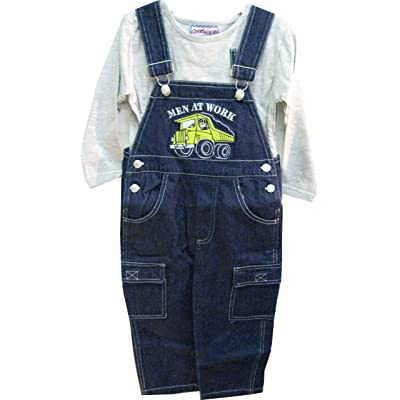 Boys 2T/3T/4T Indigo Denim / Stripe Denim Embrodiery Overall 2-PC Set