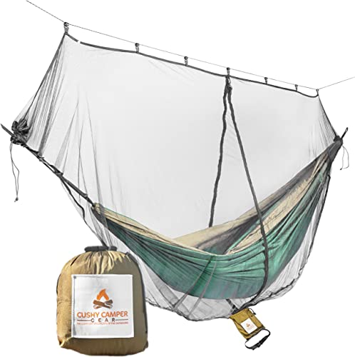 Cushy Camper Hammock Bug Net Hammock Mosquito Net 11 x4.75 Dual Side Opening – Single Double Hammocks Camping Gear Ultralight Bug Proof Netting – Insect Fly Screen Shelter Hammocking Accessories