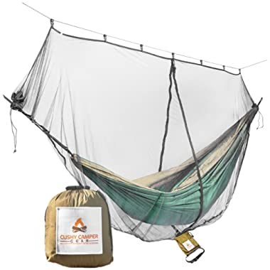 Cushy Camper Hammock Bug Net/Mosquito Net with Dual Side Zippers for Single/Double Hammocks - Camping Gear: Ultralight Bug Proof Netting - Insect/Fly Screen Shelter - Hammocking Nets & Accessories