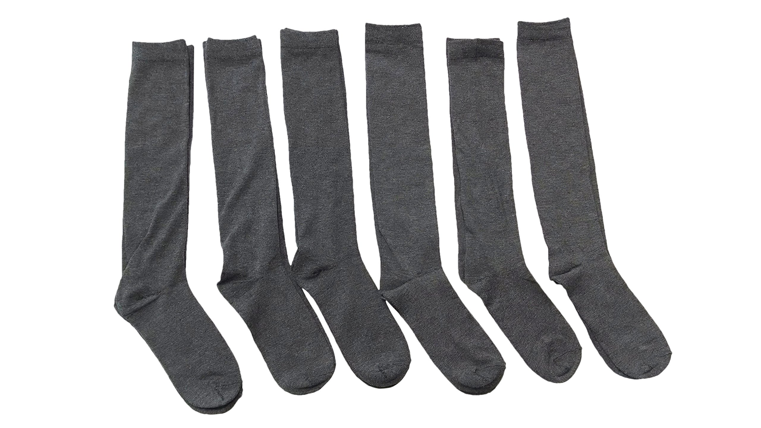 6 Pairs of Girls Knee High Socks, Cotton, Flat Knit, School Socks (9-11,Gray)