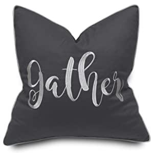 YugTex Gather Cotton Embroidered Decorative Square Accent Throw Pillow Cover - Thanksgiving, Housewarming Gift, Fall Decor - 18x18 Inches, Dark Grey
