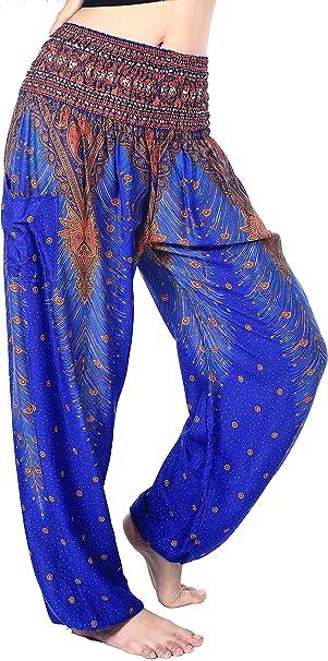 Amazon.com: Boho Vib - Pantalones de estilo bohemio, cintura ...