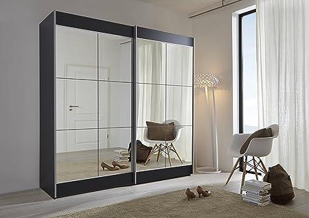 Schlafzimmer Encore Robe - Armario de Puerta corredera con Espejo, 202 cm o 301 cm de Ancho, Fabricado en Alemania, Negro, 202cm: Amazon.es: Hogar