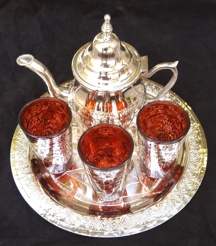 3 vasos marroquies una bandeja de 25 cm de diametro juego de t/é marroqui artesanal una tetera