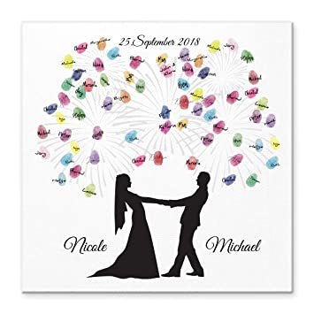 Madyes Leinwand Hochzeit Fingerabdruck Gästebuch Personalisiert