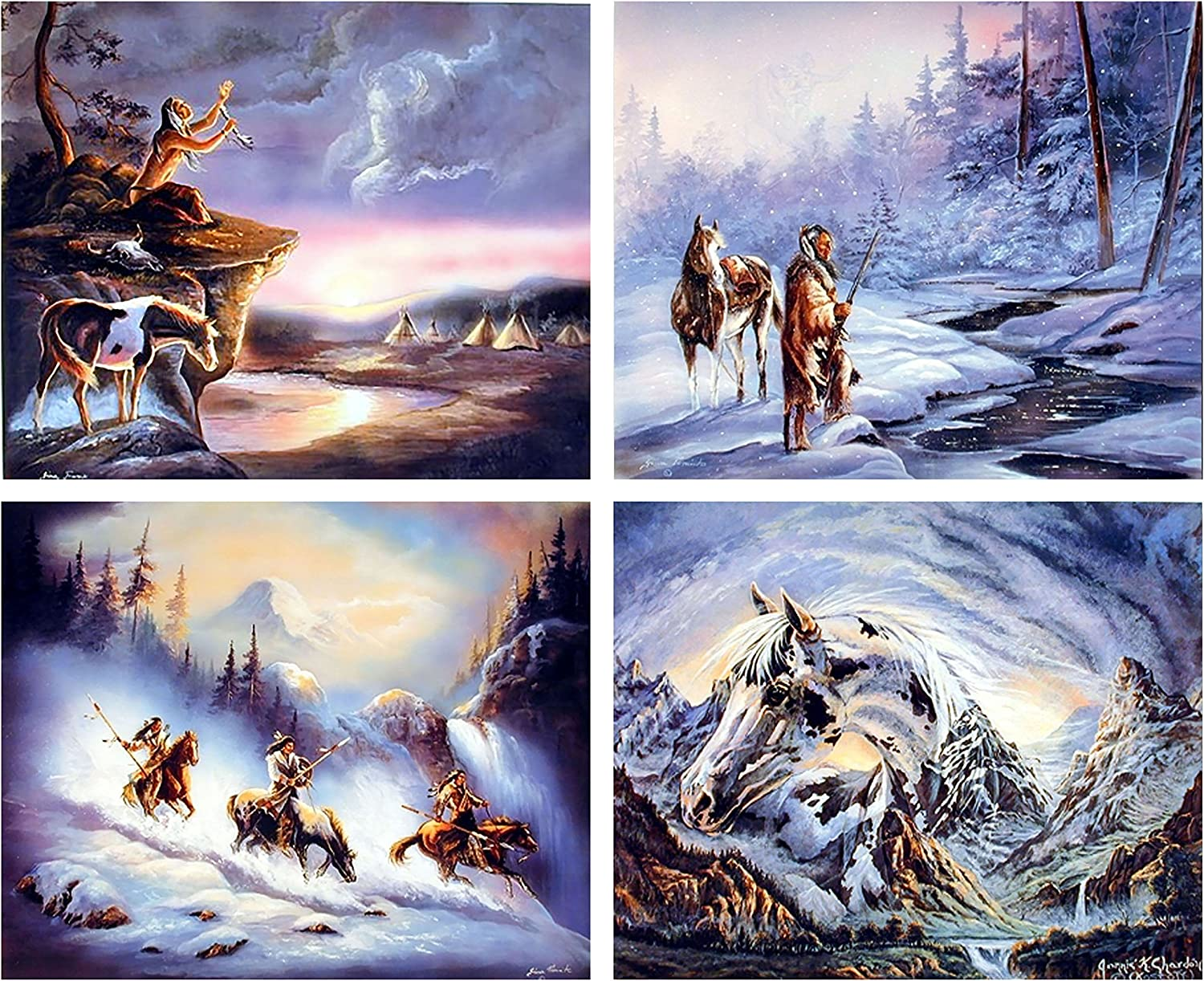 Native American Indian Warrior Eagle Spirit Horse Picture 16x20 Four Set Wall Decor Art Print Poster