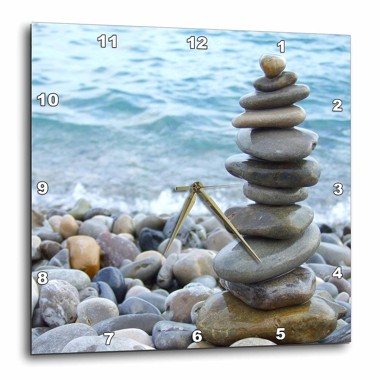 """3dRose Zen Stone Tower on Pebble Beach - Peaceful Harmony - Stacked Shiny Round Ocean Sea Rocks - Balance - Wall Clock, 13 by 13"""" (DPP_157790_2)"""