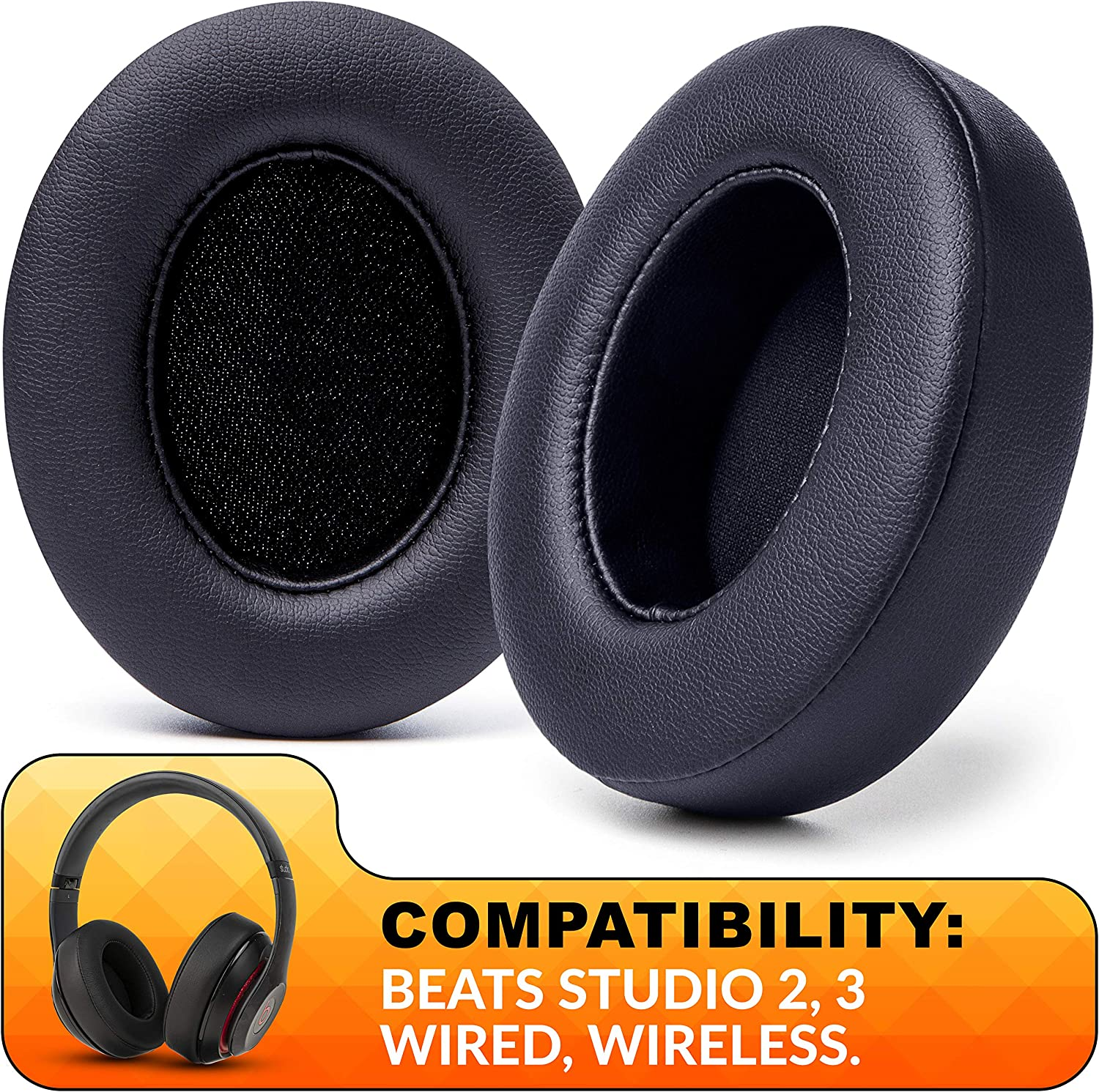 Amazon Com Wc Wicked Cushions Replacement Ear Pads Compatible With Beats Studio 3 Headphones Also Fits Beats Studio 2 Studio Wired Studio Wireless Enhanced Comfort Durability Improved Adhesive Black Electronics