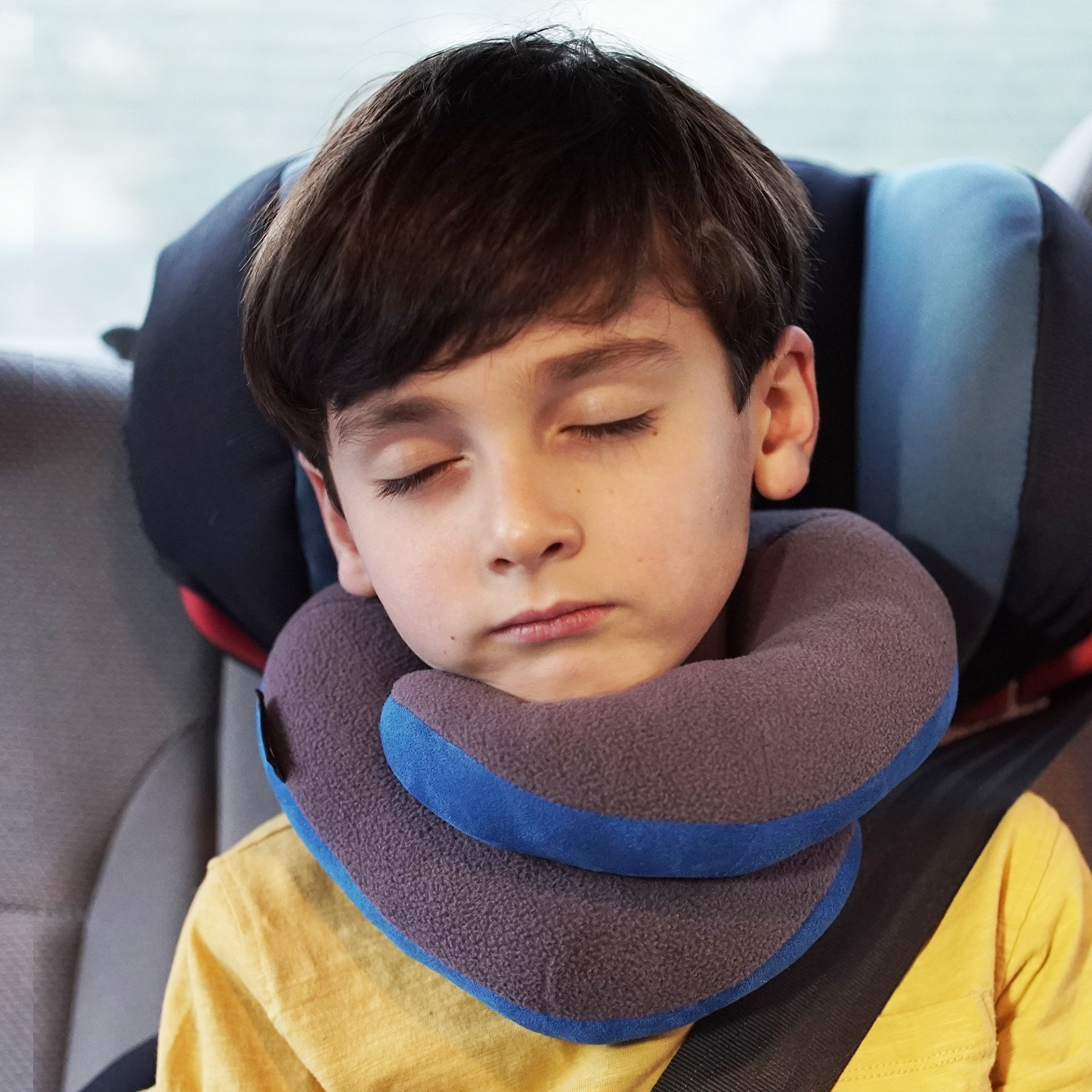 BCOZZY Kids Chin Supporting Travel Neck Pillow - Supports The Head, Neck Chin in in Any Sitting Position. A Patented Product. Child Size, Turquoise Hearts by BCOZZY (Image #3)