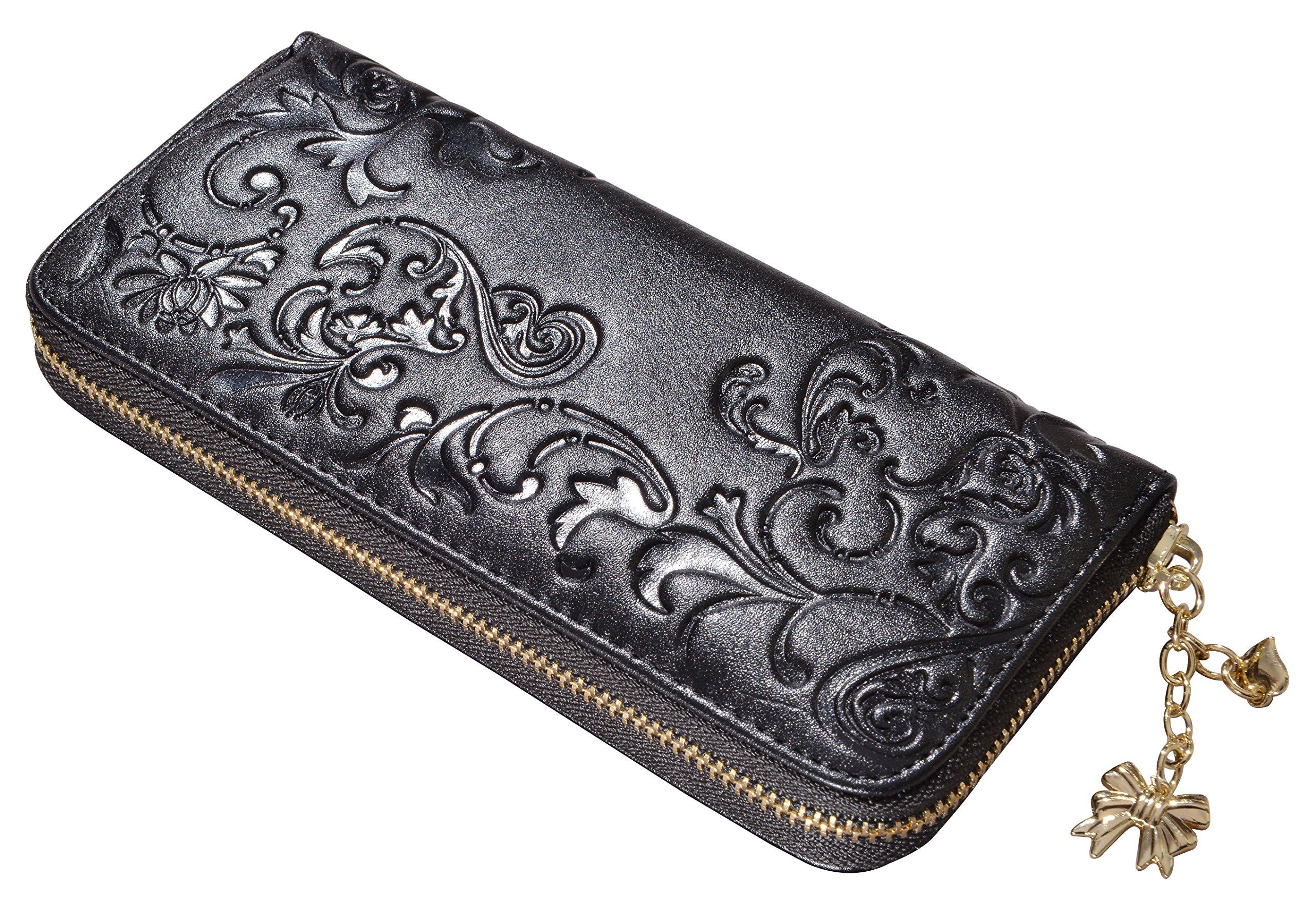 Beurlike Womens Floral Genuine Leather Wallet Zip Clutch Long Credit Card Purse (Black)