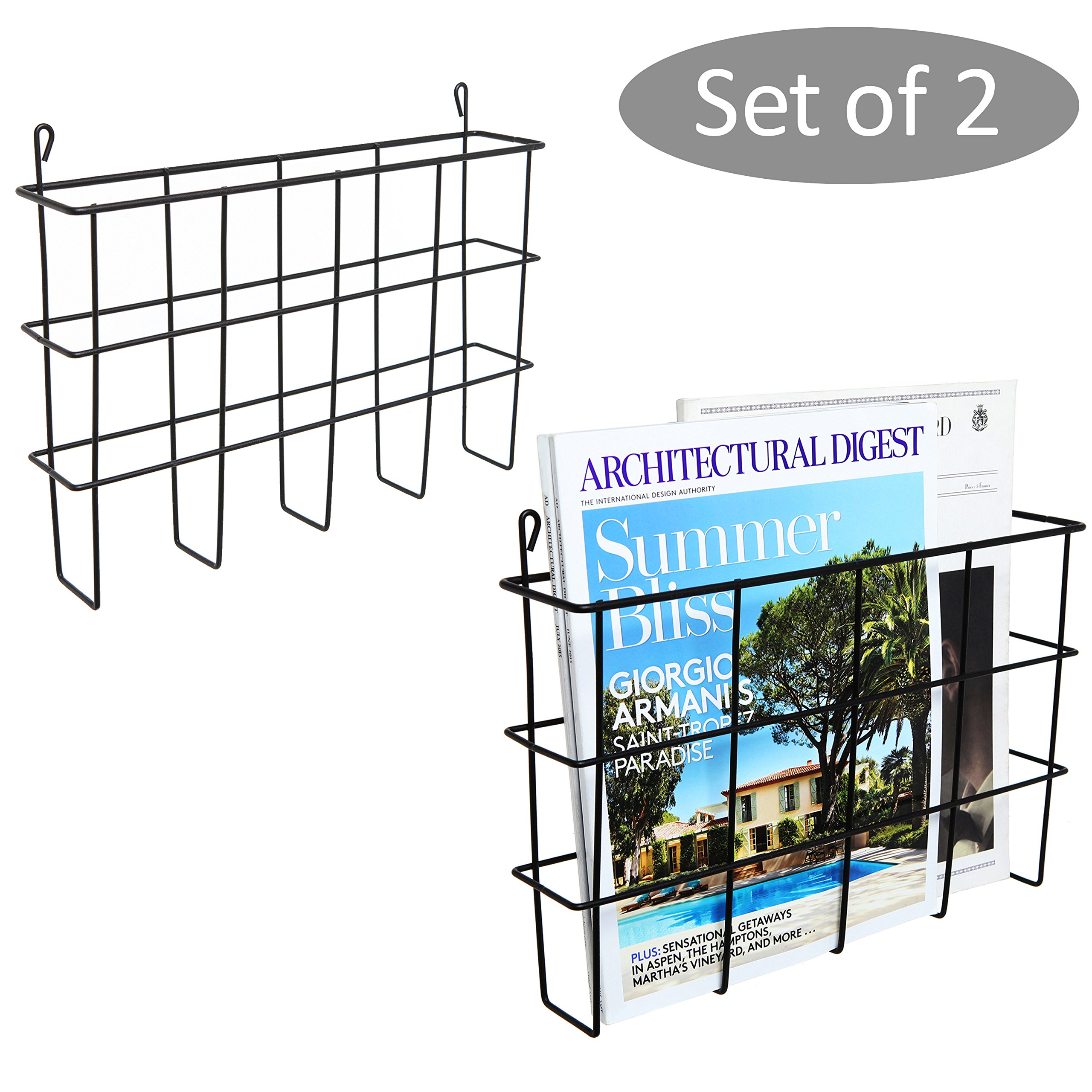Set of 2 Black Metal Wire Wall Mounted Magazine Holders, File Folder Racks