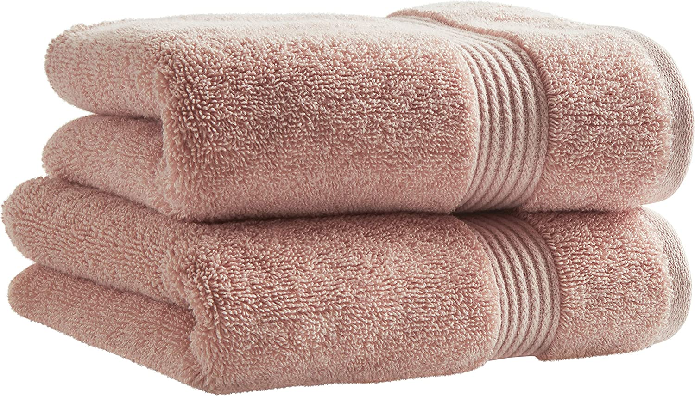 Brand – Rivet Classic Supima Cotton Hand Bathroom Towels, Set of 2, Peach Pink: Home & Kitchen