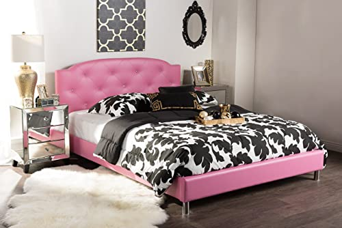 Baxton Studio Canterbury Modern and Contemporary Faux Leather Platform Bed