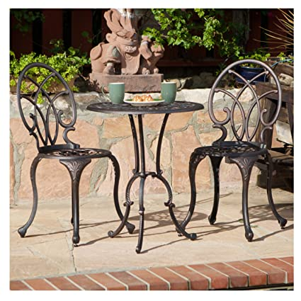 French Ironwork Cast Aluminum Outdoor Patio 3 Piece Bistro Set in Antique  Copper Finish - 2 - Amazon.com: French Ironwork Cast Aluminum Outdoor Patio 3 Piece