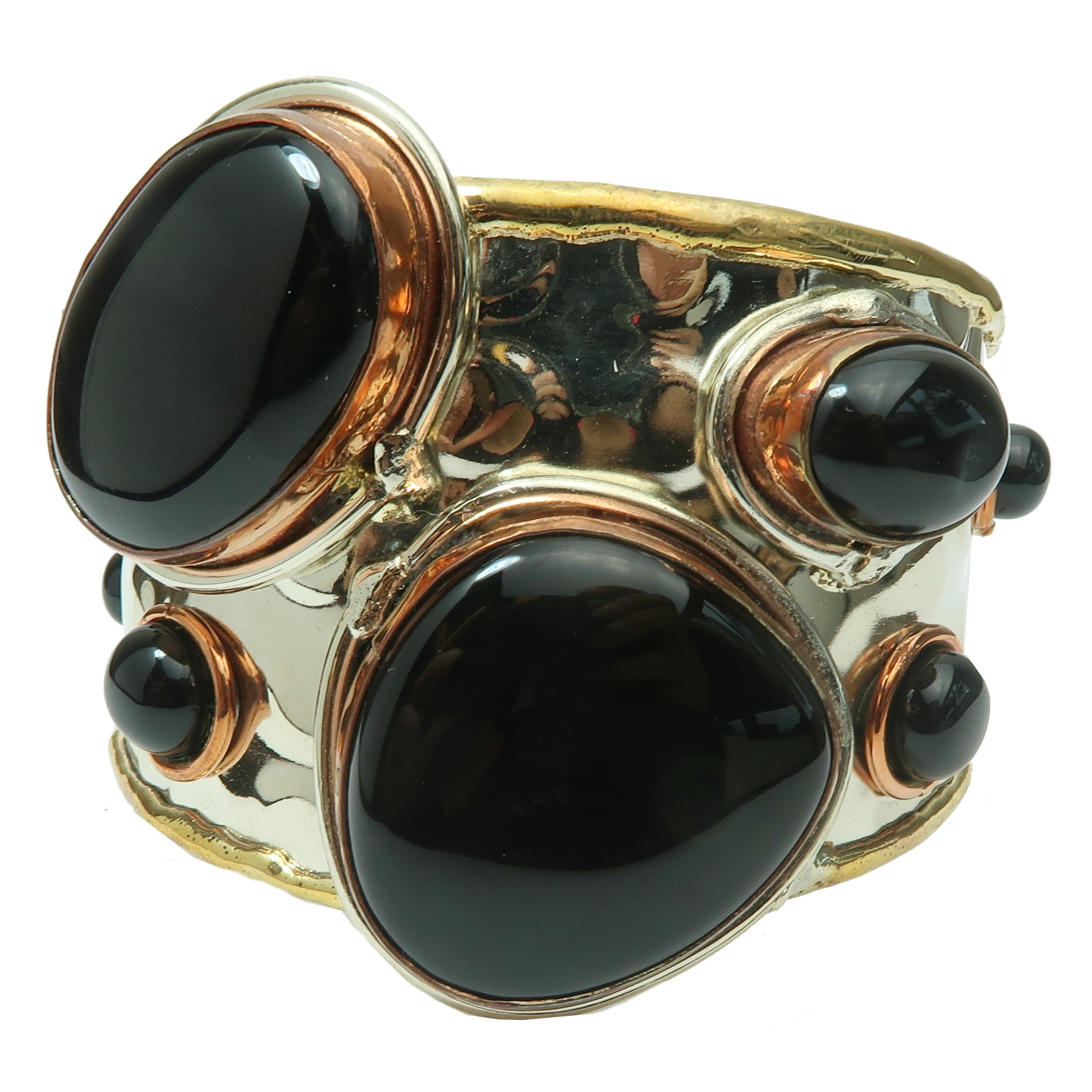 Satin Crystals Onyx Black Bracelet 5.5-7'' Boutique Genuine Gemstone Goddess Cuff Copper Brass Silver Metal Statement B01