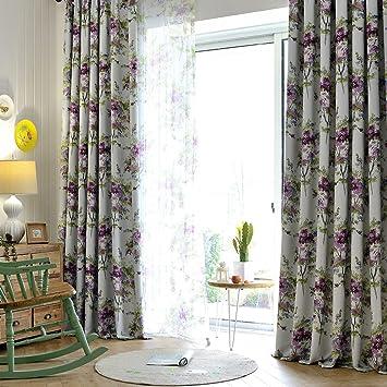Lila Blau Und Grün Blätter Vorhänge Für Wohnzimmer U2013 Koting Blackout Drapes  Wohnzimmer Gardinen Und Drapes