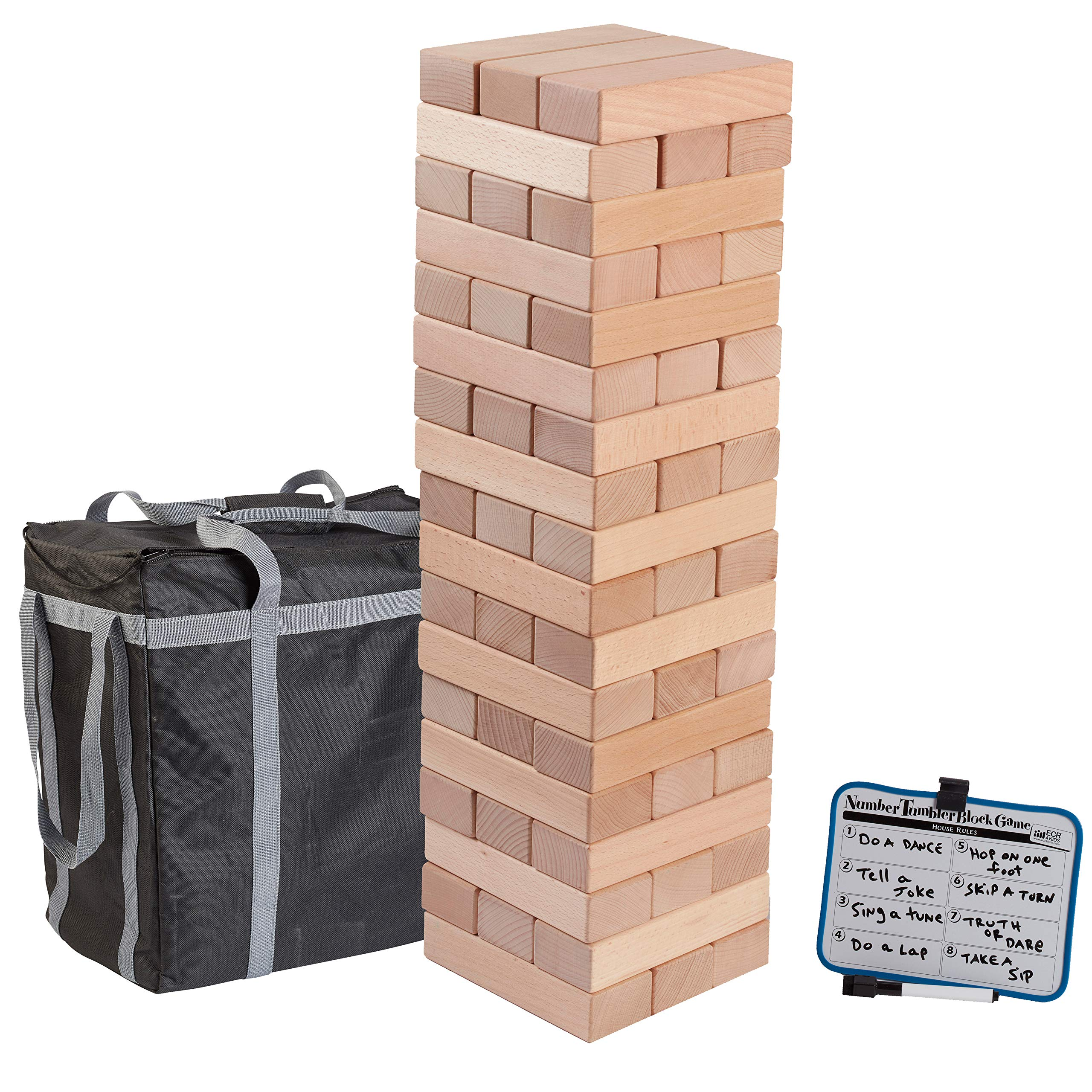 ECR4Kids Number Tumbler Giant Tumble Tower (Stacks to 5+ Feet), Large Wood Stacking Block Game with Storage Bag and Dry-Erase Board for Bonus Rules, Jumbo 28'' Tall (54-Piece Set)