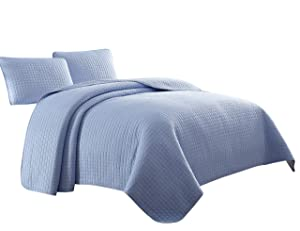 Attitude 3pc Coverlet Set, Light Blue King/Cal-King Size Bed by Cozy Beddings