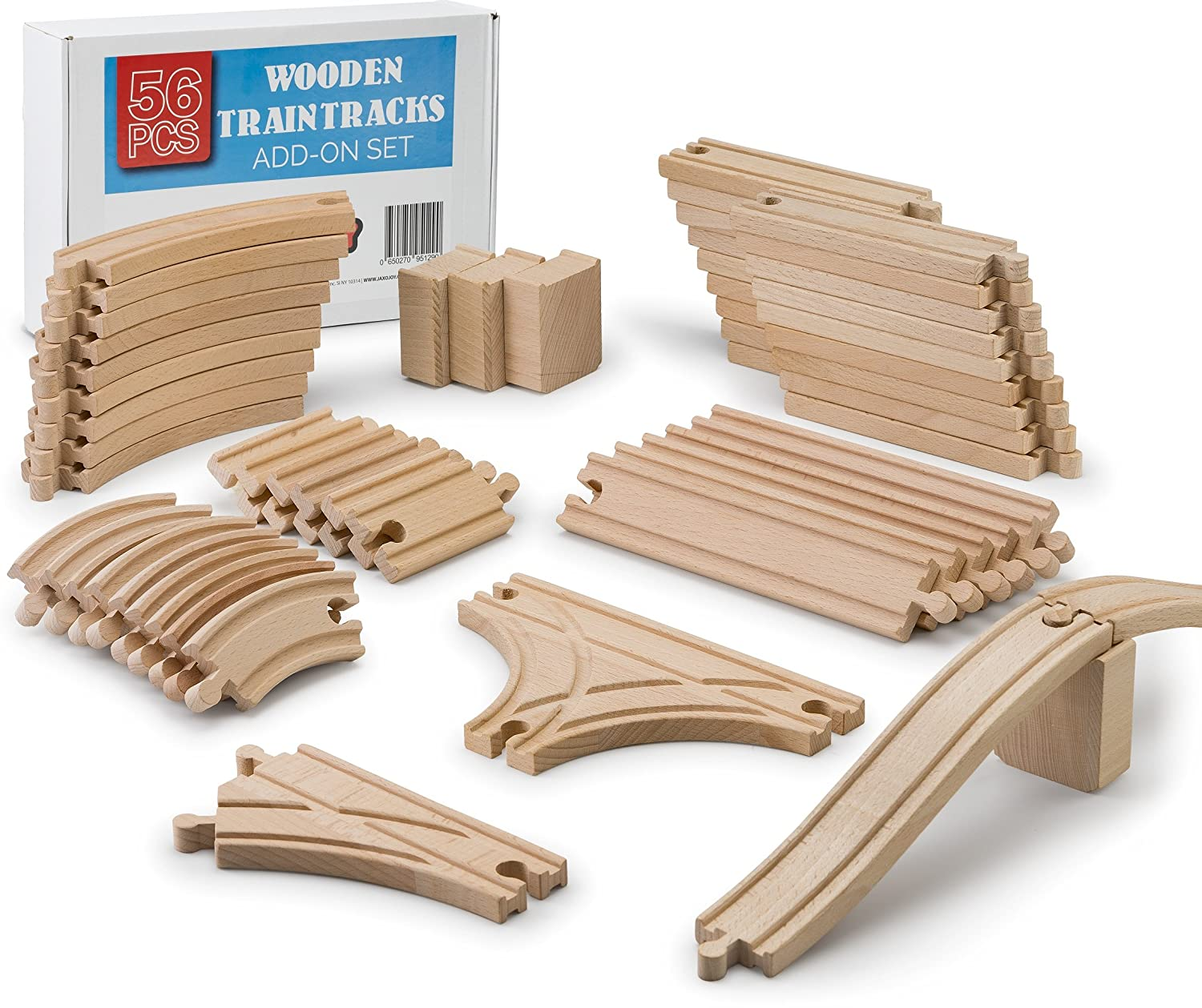 JaxoJoy 56-Piece Wooden Train Track Set | 100% Real Wood, Compatible with Thomas and All Other Major Brands Wooden Toy Railroad Sets