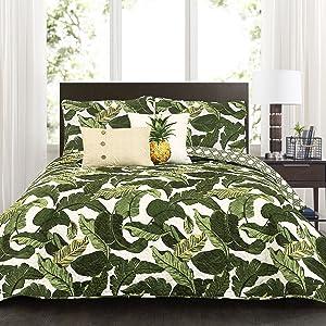 Lush Decor Green Tropical Paradise Quilt-Leaf Palm Rainforest Reversible 5 Piece Bedding Set-Full Queen