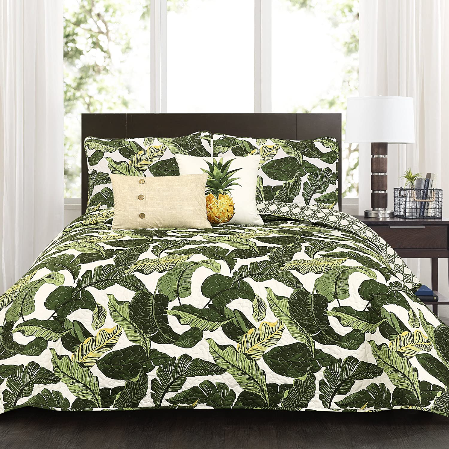 Lush Decor Tropical Paradise Quilt-Leaf Palm Rainforest Reversible 5 Piece Bedding Set-King-Green