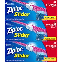 Ziploc Slider Storage Bags, Quart, 3 Pack, 42 ct