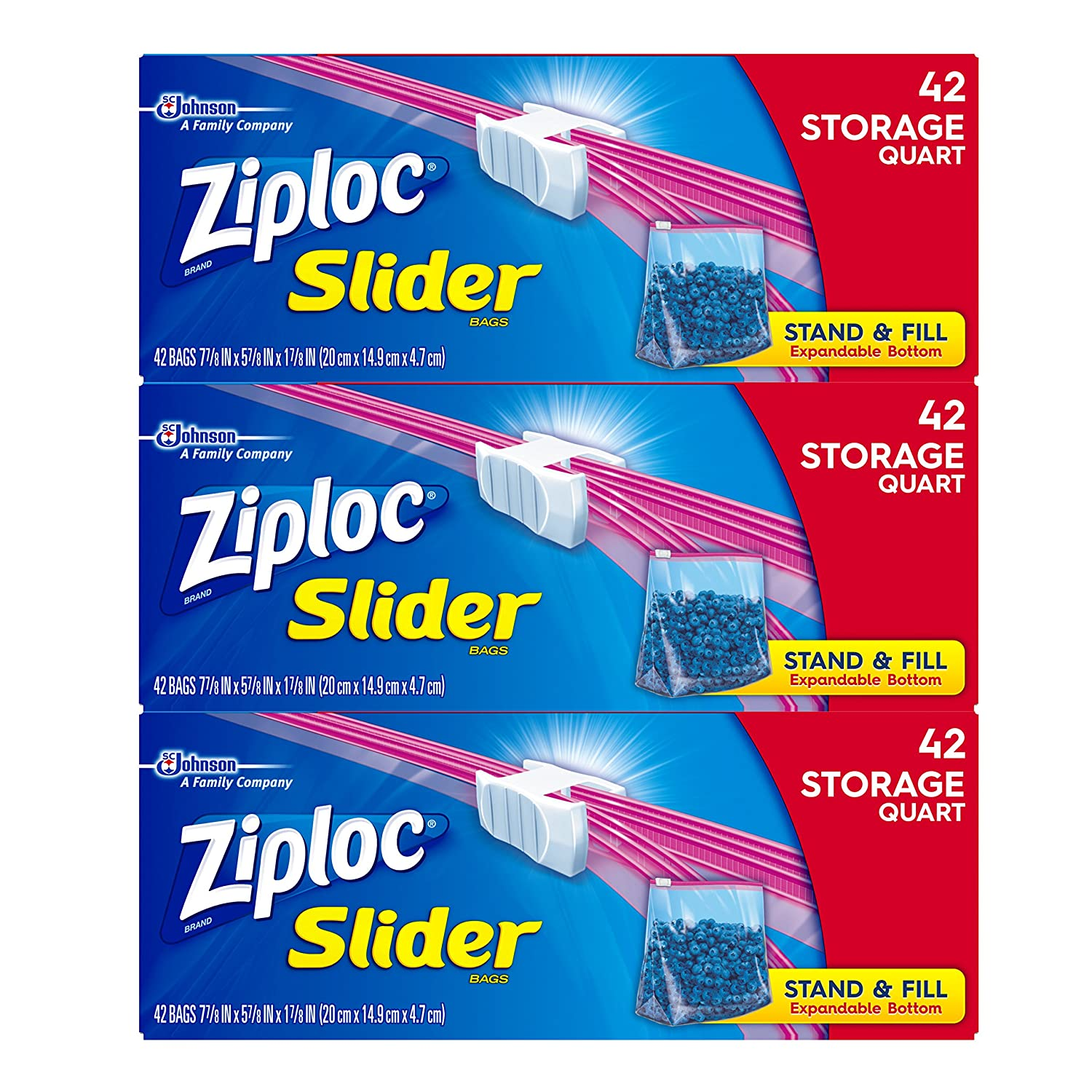 Ziploc Slider Storage Bags, Quart, 42 Count per pack, Pack of 3