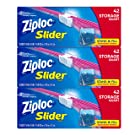 Ziploc Slider Stand-and-Fill Storage Bags, For Food, Sandwich, Organization and More, Quart, 42 Count, Pack of 3 (126 Total Bags)