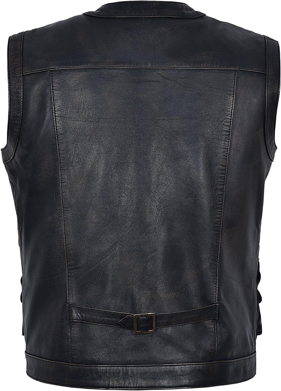 Smart Range Jurassic World Chris Pratt 1188 100/% Piel aut/éntica Color Negro y Bronce Chaleco para Hombre