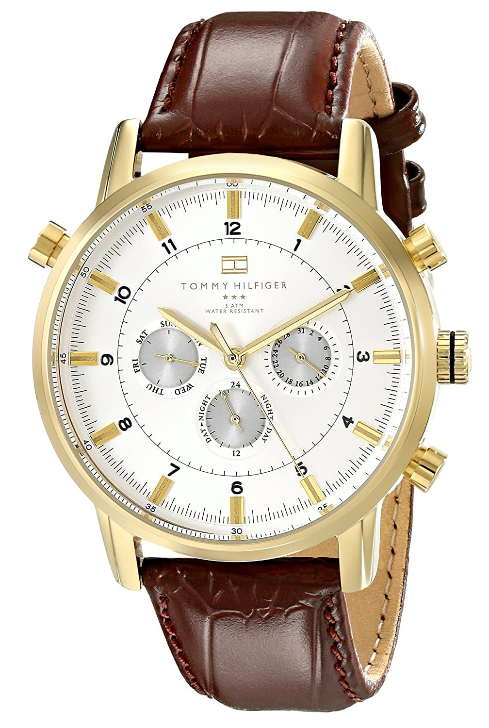 Amazoncom Tommy Hilfiger Mens 1790874 GoldTone Watch with Brown