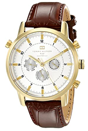 32e3248bd Image Unavailable. Image not available for. Color: Tommy Hilfiger Men's  1790874 Gold-Tone Watch with Brown Leather Band