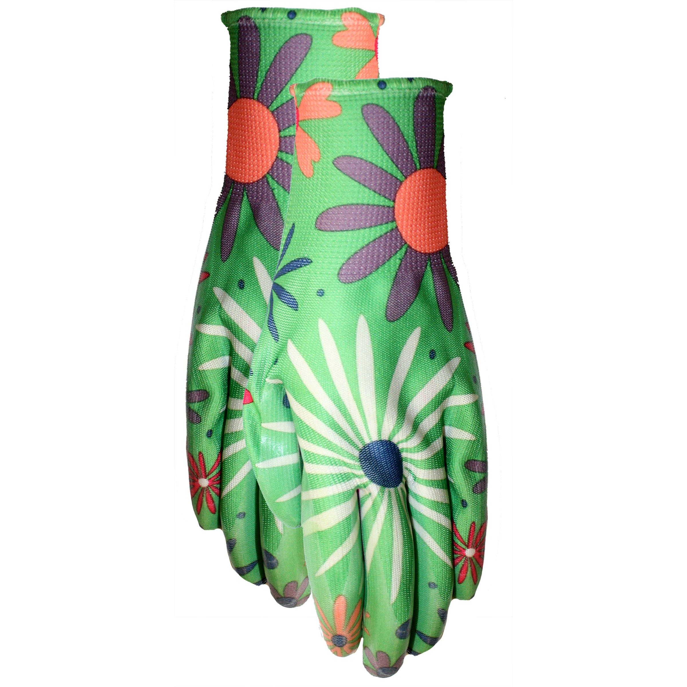 MidWest Gloves 60F6-M-AZ-1 Floral Print Poly Garden Glove, Ladies, Multicolor