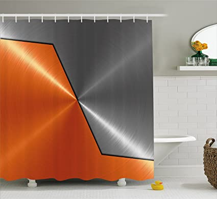 Ambesonne Orange And Grey Shower Curtain 3D Style Machinery Structure Image Detailed Vivid Modern Contrast