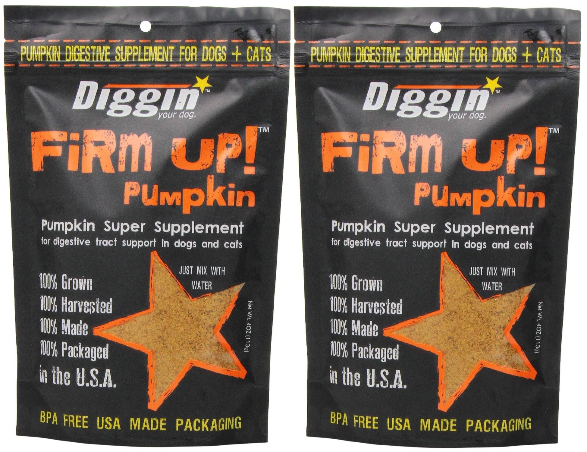 Diggin' Your Dog Firm Up Pumpkin Super Supplement for Digestive Tract Health for Dogs, 4-Ounce - 2 Pack