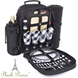 Plush Picnic - Picnic Backpack / Picnic Basket with Cooler Compartment, Detachable Bottle/Wine Holder, Fleece Blanket, Plates and Cutlery Set (4 Person)