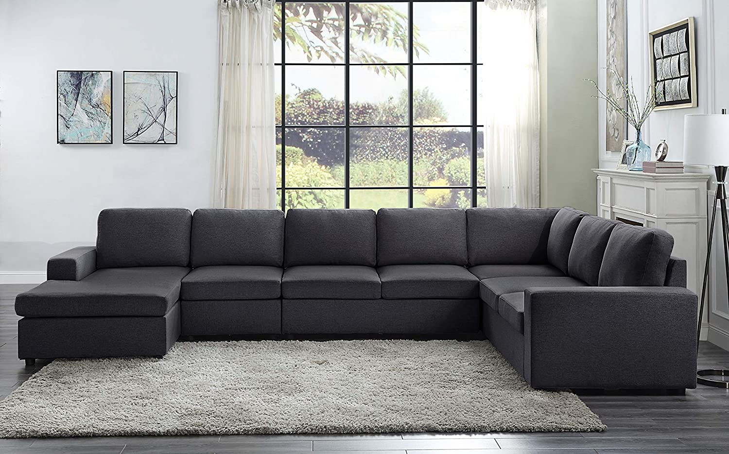 Lilola Home Tifton Modular Sectional Sofa With Reversible Chaise Furniture Decor