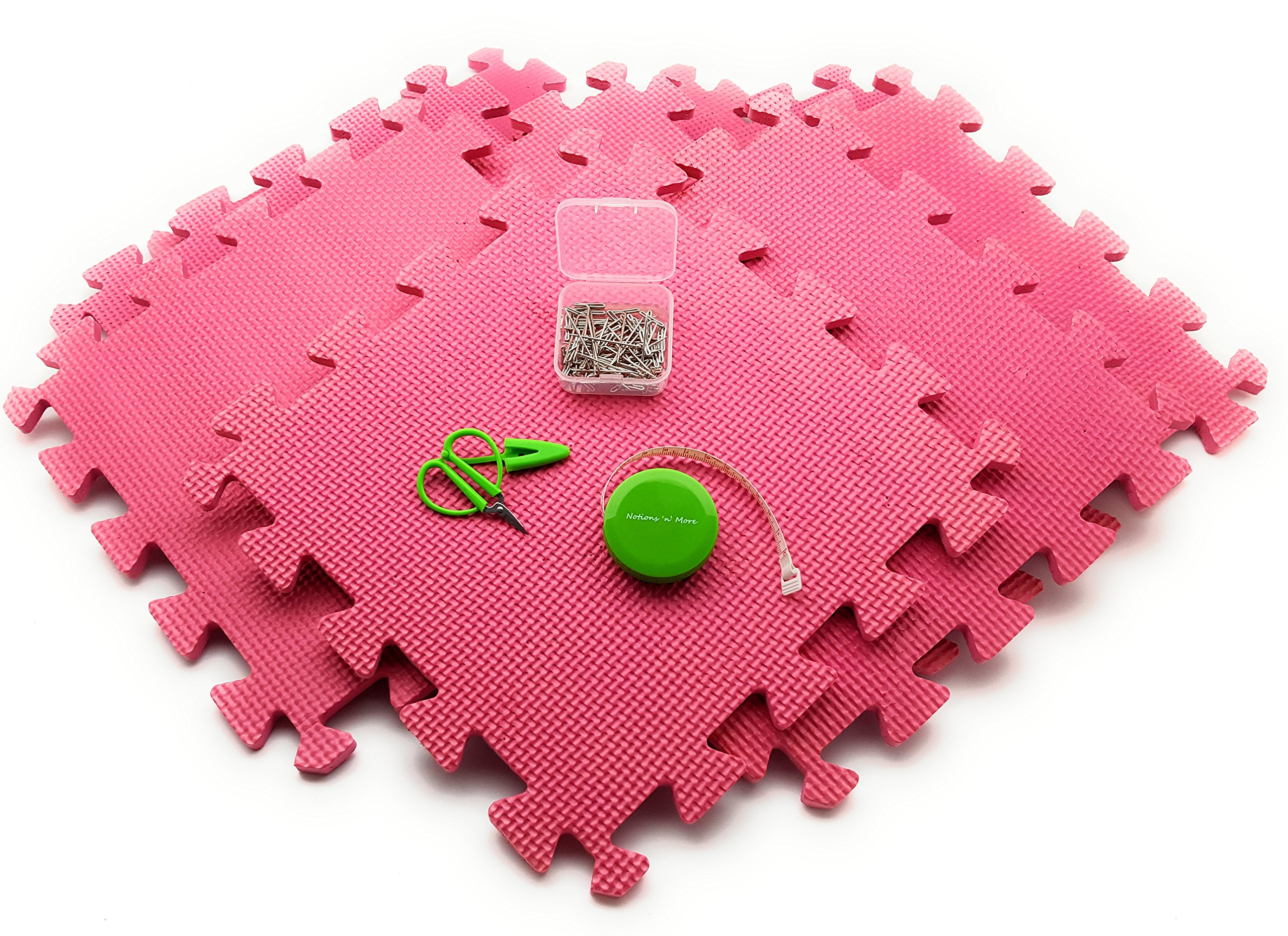 Blocking Mats Kit for knitting or crochet: 9 Foam Boards WITH ESSENTIALS PACK: Tape Measure, T-Pins 50 pack, SuperSnips Mini Scissors! NO CONFUSING GRIDLINES!