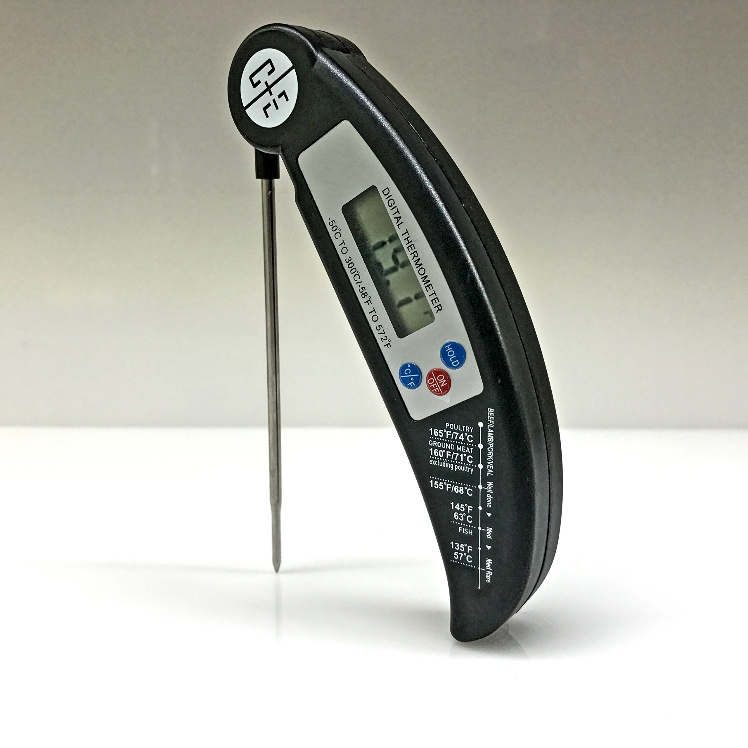 C+E Instant Read Digital Cooking Thermometer, Perfect Meat Thermometer for Grill/BBQ, Stainless Steel Collapsible Probe