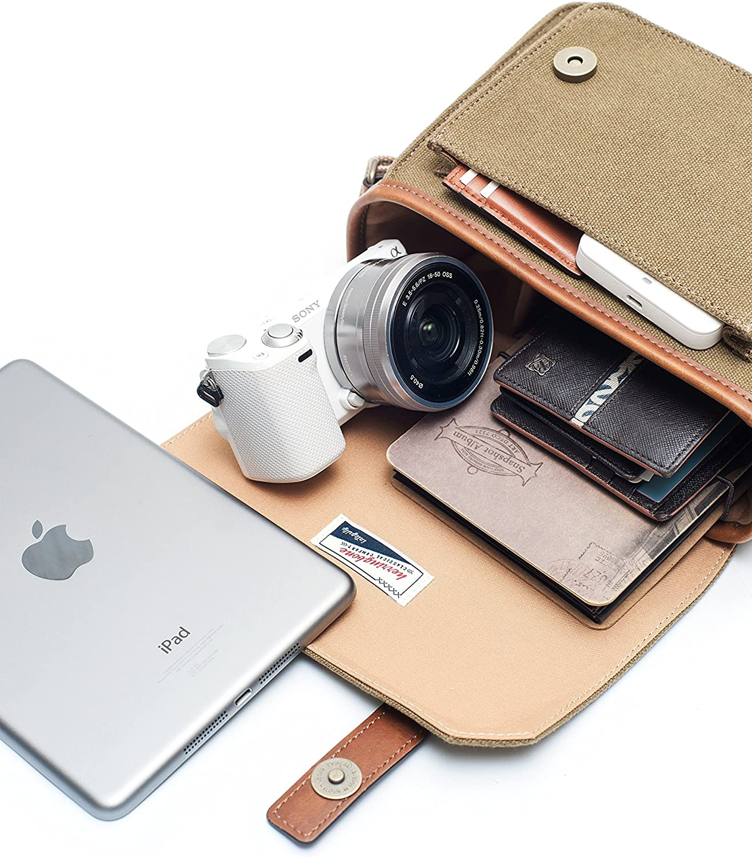 Herringbone Camera Bag DSLR Case Papas Pocket Medium Messenger Bag Season III H1216 Khaki