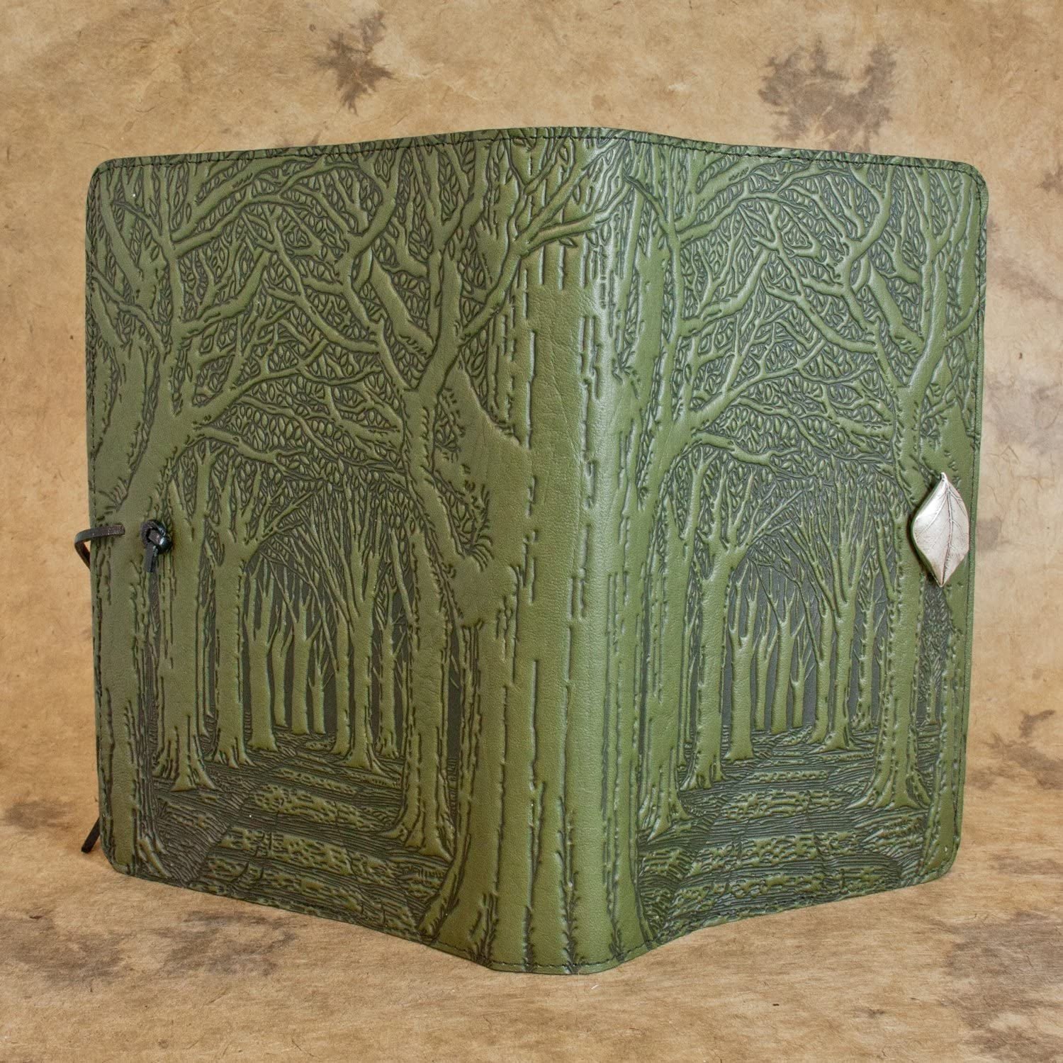 Genuine Leather Refillable Journal Cover with a Hardbound Blank Insert 6x9 Inches Fern Color with Pewter Button Made in The USA by Oberon Design Avenue of Trees