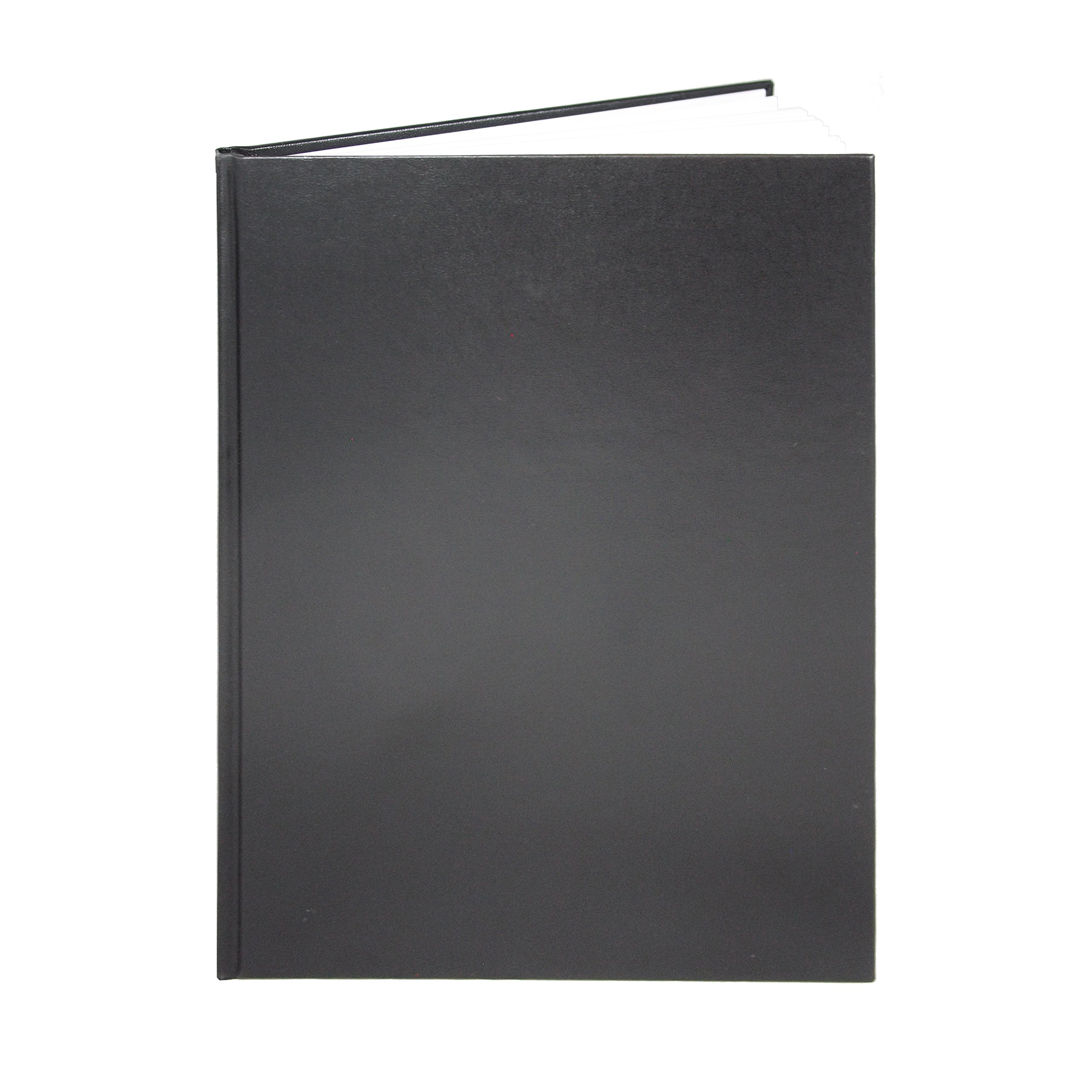 BookFactory Black Blank Notebook / Blank Book / Unruled Notebook - 96 Pages, Blank Format, 8'' x 10'', Black Cover, Smyth Sewn Hardbound (BLA-096-SBB-A-LKT00)