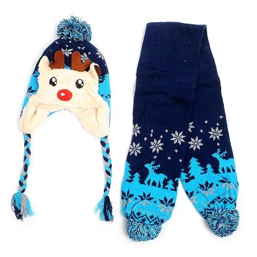 53a8b4202 Amazon.com: Kid's Scandinavian Reindeer Trapper Hat and Scarf Winter ...