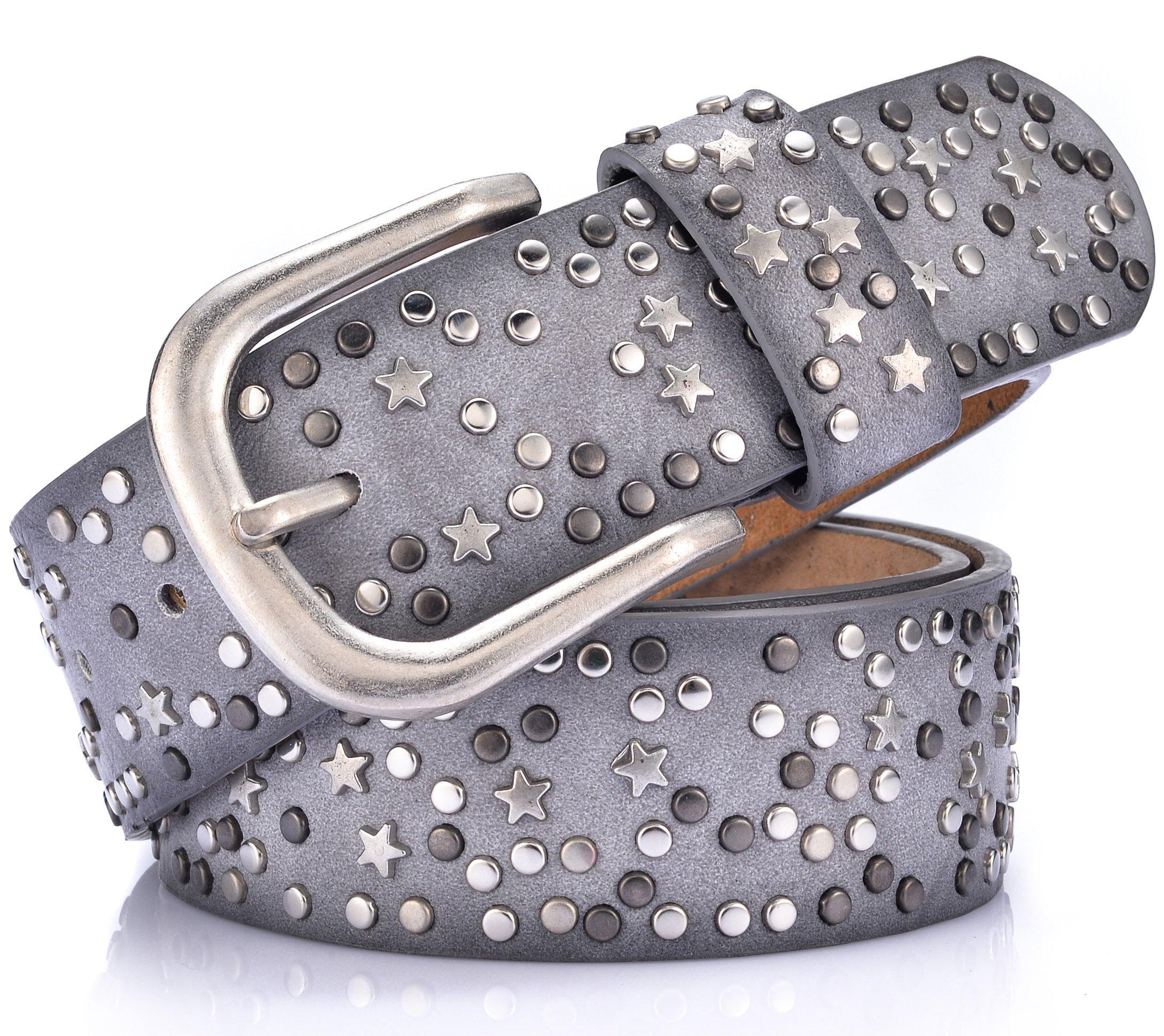 Ayli Women's Jean Belt, Stars Rivets Punk Rock Handcrafted Genuine Leather Belt, Free Gift Box, Gray, Fits Waist 26'' to 27'' (US Pant Size 2-4), bt6b507gy090