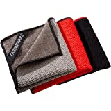 "Farberware 4-in-1 Wash, Dry, Scrub, Polish Microfiber Scrubber Dish Cloths (3 Pack), 12 x 12"", Red/Grey/Black"