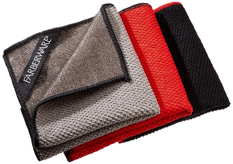 Farberware 4-in-1 Wash, Dry, Scrub, Polish Microfiber Scrubber Dish Cloths (3 Pack), 12 x 12