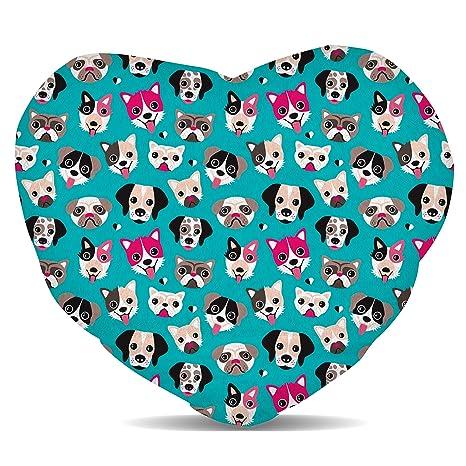 Amazon.com: Cachorro Party forro polar – Cojín corazón ronda ...